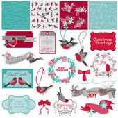 Scrapbook Design Element - Christmas Birds Theme - in vector — Stock Vector