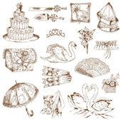 Set of Beautiful Wedding Hand Drawn Elements - in vector — Stock Vector