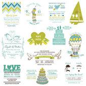 婚礼复古邀请收藏-设计、 剪贴簿 — 图库矢量图片