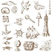 Nautical Sea Design Elements - for scrapbook and design in vector — Stock Vector