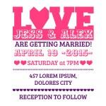 Wedding Invitation Card - Love and Heart Theme - in vector — Stock Vector