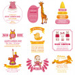 Set of Baby Shower and Arrival Cards — Stock Vector