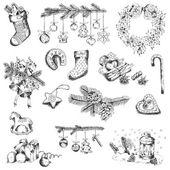 设置的圣诞元素-为设计和剪贴簿-向量中 — 图库矢量图片