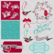 Scrapbook Design Element - Christmas Birds Theme - in vector — Stock Vector