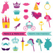 Prince and Priness Party set - photobooth props - crown, mustach — Stock Vector