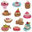 Set of Cakes, Sweets and Desserts - hand drawn in vector — Stock Vector #31896285