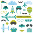 Airplane Party set - photobooth props - glasses, hats, planes — Stock Vector #31896955