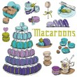 Macaroons and and Dessert Collection - for design and scrapbook — Stock Vector