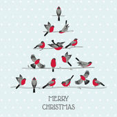 Retro Christmas Card - Birds on Christmas Tree - for invitation — Cтоковый вектор