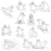 Conjunto de pinguins - natal - para projeto e scrapbook - vetor — Vetorial Stock
