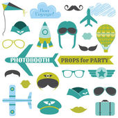 Airplane Party set - photobooth props - glasses, hats, planes — Stock Vector