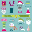 Stock Vector: Christmas Retro Party set - Glasses, hats, lips, mustaches, mask
