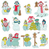 雪人圣诞套 — 图库矢量图片