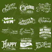 Vector Set: Christmas Calligraphic Design Elements and Page Decoration — Stock Vector