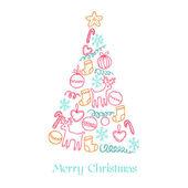 Cartão de natal - árvore de natal com elementos — Vetorial Stock