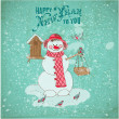 Christmas Card - Snowman and Birds- for design and scrapbook — Stock Vector