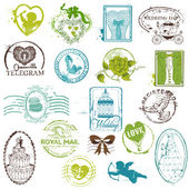 Vintage Rubber Stamp Collection - for your design, scrapbook — Stock Vector