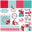 Scrapbook Design Elements - Santa Claus Christmas Set — Stock Vector