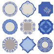 Victorian Tags and Frames - Porcelain Vintage Set - in vector — Stock Vector