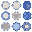 Victorian Tags and Frames - Porcelain Vintage Set - in vector — Stock vektor