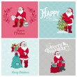 Santa Claus Christmas Cards - for design and scrapbook — Stock Vector