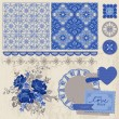 Scrapbook Design Elements - Vintage Porcelain and Flower Set — Stock Vector