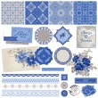 Scrapbook Design Elements - Vintage Porcelain and Flower Set — Stock Vector #34407933