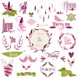 Wedding Design Elements - feathers, birds, arrows, ribbons — Stock Vector