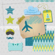 Scrapbook Design Elements - Airplane Party Set - in vector — Vektorgrafik