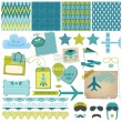 Scrapbook Design Elements - Airplane Party Set - in vector — Stock Vector