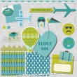 Scrapbook Design Elements - Airplane Party Set - in vector — Imagen vectorial