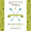 Wedding Invitation Card - Feather Arrows and Heart Theme — Stock Vector