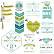 Set of Wedding Cards - Feather, Arrows and Heart Theme  — Vektorgrafik