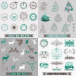 Vector Set: Christmas Calligraphic Design Elements, Frames — Vecteur