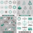 Vector Set: Christmas Calligraphic Design Elements, Frames — 图库矢量图片