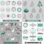 Vector Set: Christmas Calligraphic Design Elements, Frames — Stock Vector