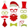 Christmas Photobooth Party set - Glasses, hats, lips, mustaches — Stock Vector