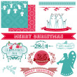 Scrapbook Design Elements - Vintage Merry Christmas and New Year — Stock Vector #35132617