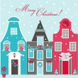 Retro Christmas Invitation Card - Christmas Houses Theme  — Stock Vector