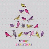 Retro Christmas Card - Birds on Christmas Tree — Stock Vector
