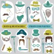 Photo Booth Party set - Glasses, hats, lips, mustache, masks — Vector de stock