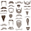 Stock Vector: Set of hand drawn Moustache Mustache - photo booth, costume
