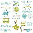 Wedding Graphic Set, Arrows, Feathers, Heart, Ribbons and Labels — Stock Vector