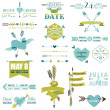 Wedding Graphic Set, Arrows, Feathers, Heart, Ribbons and Labels — Stock vektor