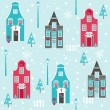 Seamless Christmas House Background - for design and scrapbook — Stock Vector
