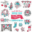 Hand Drawn Christmas Card - for design and scrapbook - in vector — Stock Vector