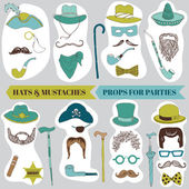 Photo Booth Party set - Glasses, hats, lips, mustache, masks — Stock Vector