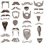 Set of hand drawn Moustache Mustache - photo booth, costume — Stock Vector