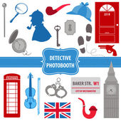 Detective Sherlock Party set - photobooth props — Stock Vector