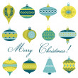 Set of Vintage Christmas Tree Balls - for design and scrapbook  — Stock Vector